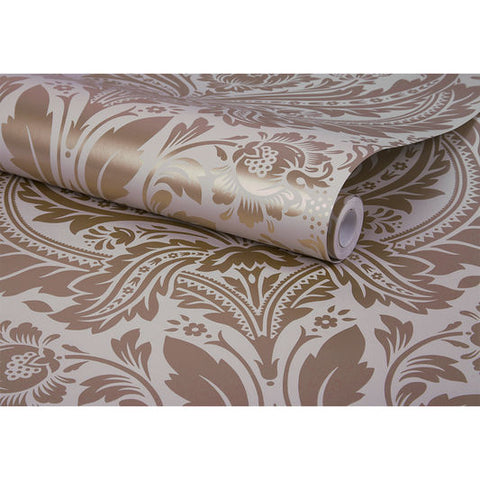 Desire Wallpaper in Rose Gold and Mink from the Exclusives Collection by Graham & Brown