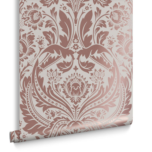 Sample Desire Wallpaper in Rose Gold and Mink from the Exclusives Collection by Graham & Brown