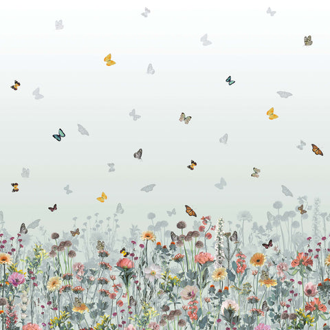 Deya Meadow Wallpaper in Eau De Nil and Multi from the Daydreams Collection by Matthew Williamson for Osborne & Little