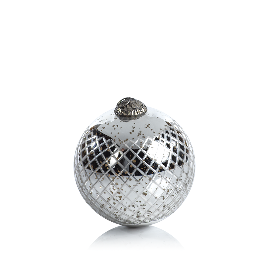 Diamond Cut Antique Silver Holiday Ball Ornament Large