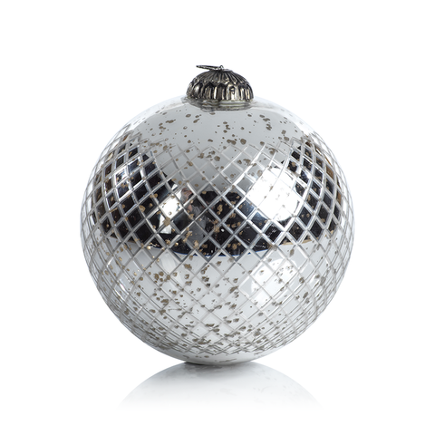 Diamond Cut Antique Silver Holiday Ball Ornament XL