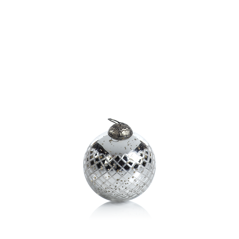Diamond Cut Antique Silver Holiday Ball Ornament in Various Sizes
