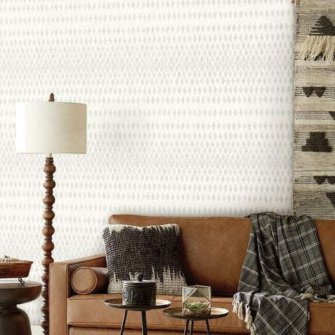 Diamond Ombre Wallpaper in Grey and White from the Simply Farmhouse Collection by York Wallcoverings