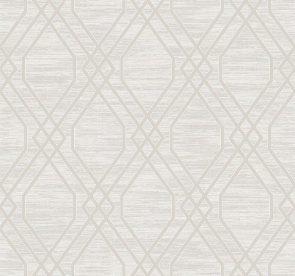 Sample Diamond Geo Wallpaper in Beige and Silver Glitter from the Casa Blanca II Collection by Seabrook Wallcoverings