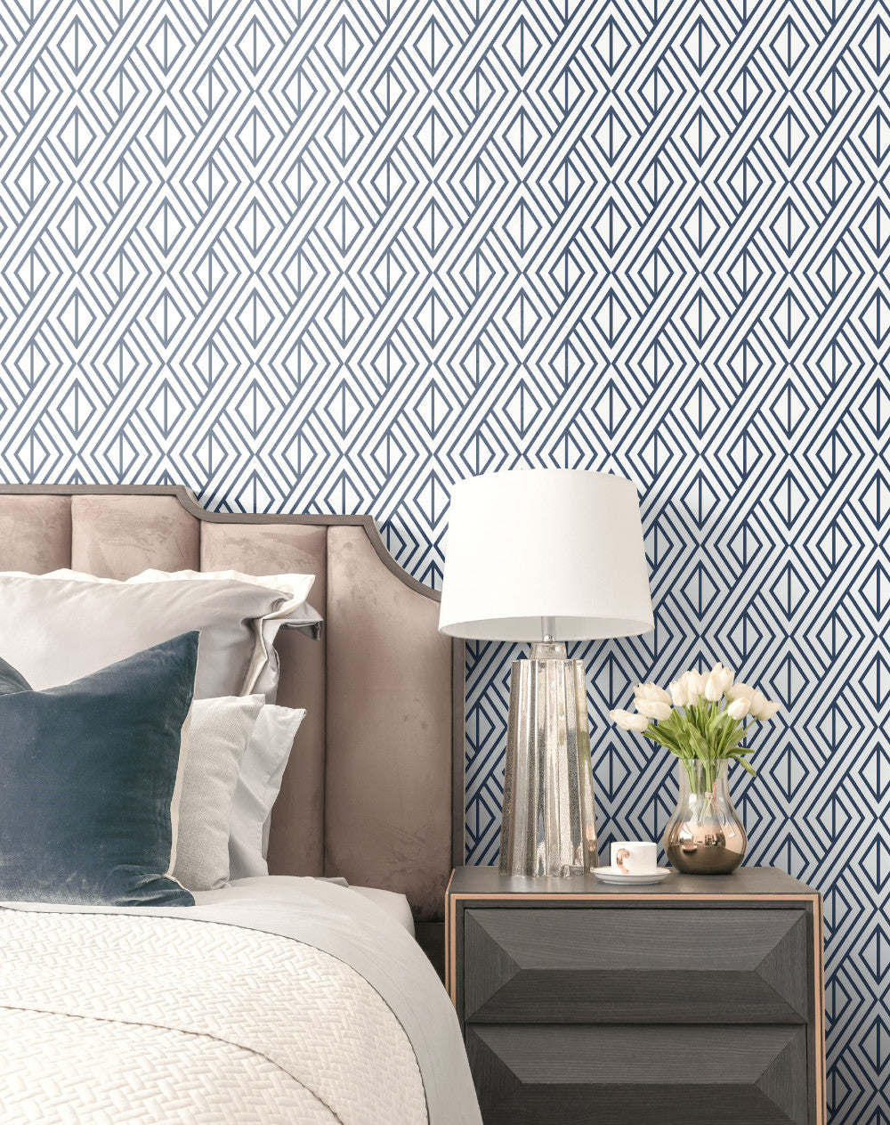 Geometric pattern removable wallpaper Navy and Beige wall mural Peel and stick