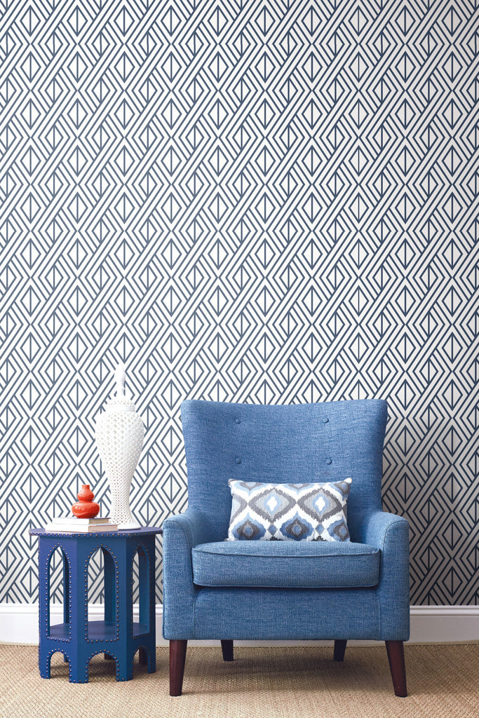 Diamond Geometric Peel And Stick Wallpaper In Navy By