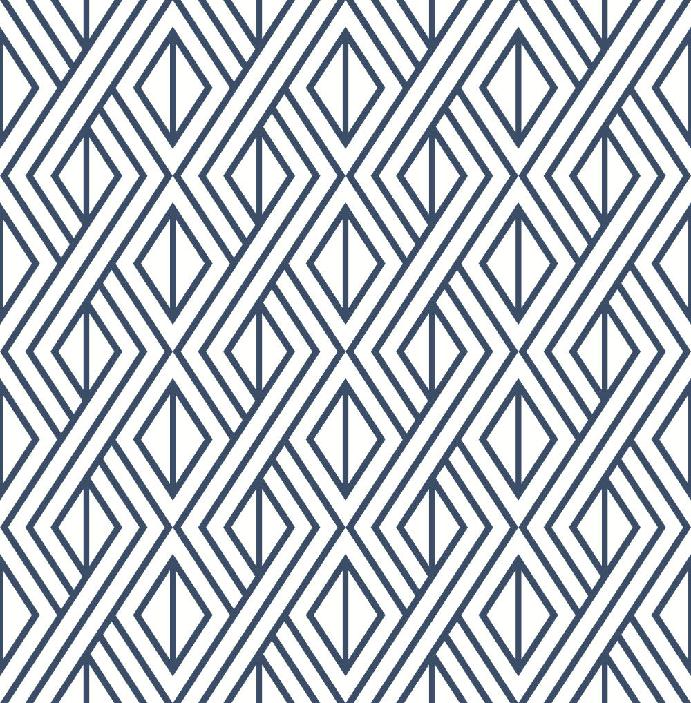 Diamond Geometric Peel-and-Stick Wallpaper in Navy by NextWall