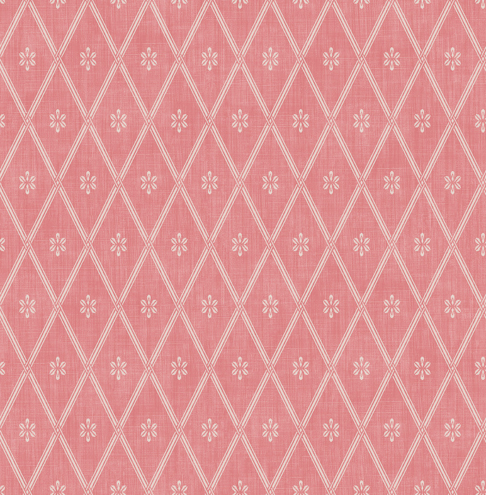 Diamond Lattice Wallpaper in Coral from the Spring Garden Collection by Wallquest