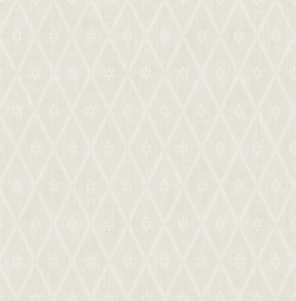 Sample Diamond Lattice Wallpaper in Fawn from the Spring Garden Collection by Wallquest