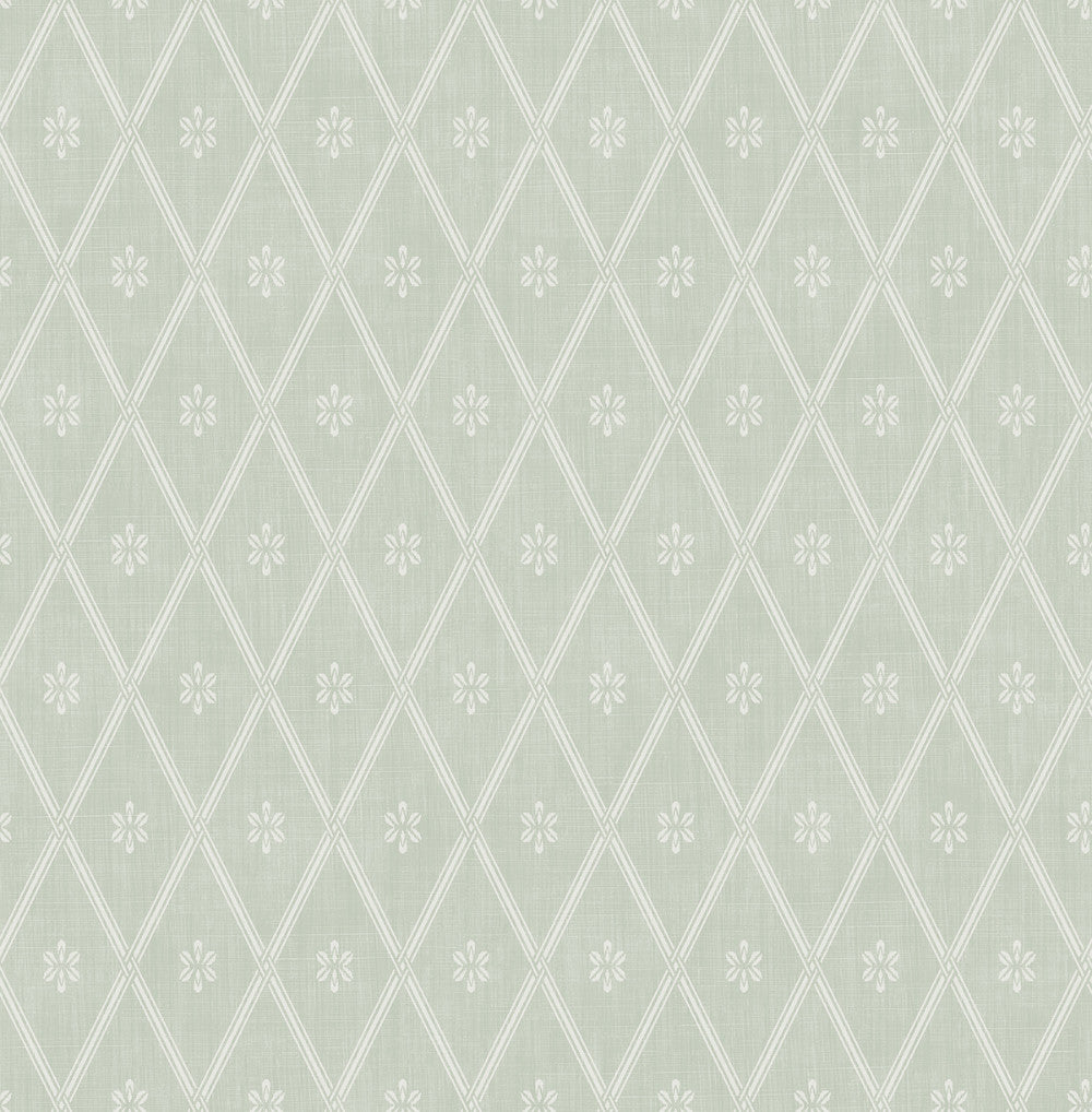 Diamond Lattice Wallpaper in Sage from the Spring Garden Collection by Wallquest