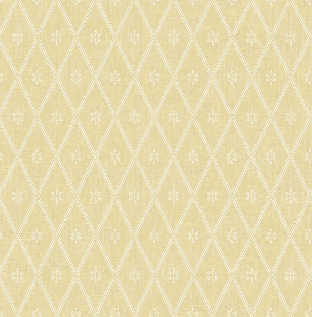 Diamond Lattice Wallpaper in Sunshine from the Spring Garden Collection by Wallquest