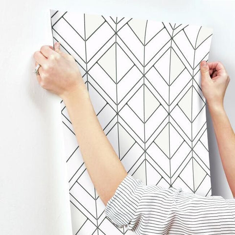 Diamond Shadow Wallpaper in White and Black from the Geometric Resource Collection by York Wallcoverings