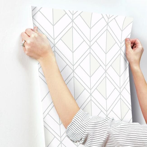 Diamond Shadow Wallpaper in White and Grey from the Geometric Resource Collection by York Wallcoverings