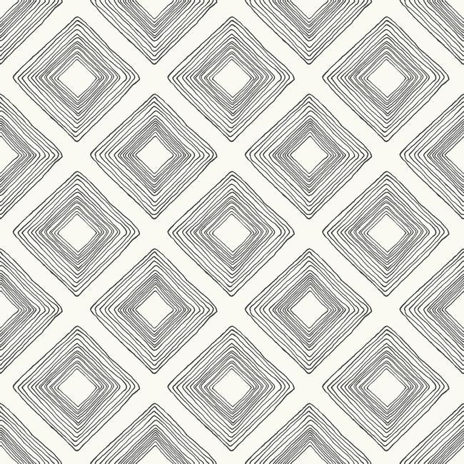 Diamond Sketch Wallpaper In Black On White From Magnolia Home Vol 2 By Joanna Gaines