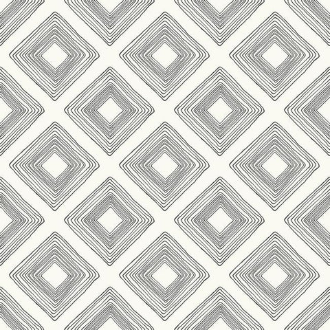Diamond Sketch Wallpaper in Black on White from Magnolia Home Vol. 2 by Joanna Gaines