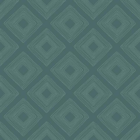 Diamond Sketch Wallpaper in Teal from Magnolia Home Vol. 2 by Joanna Gaines