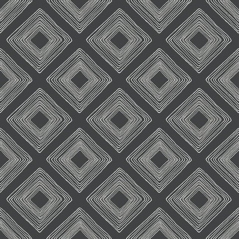 Diamond Sketch Wallpaper in White on Black from Magnolia Home Vol. 2 by Joanna Gaines