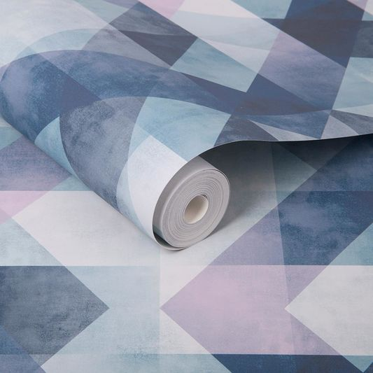 Dimension Wallpaper in Steel Blue from the Exclusives Collection by Graham & Brown