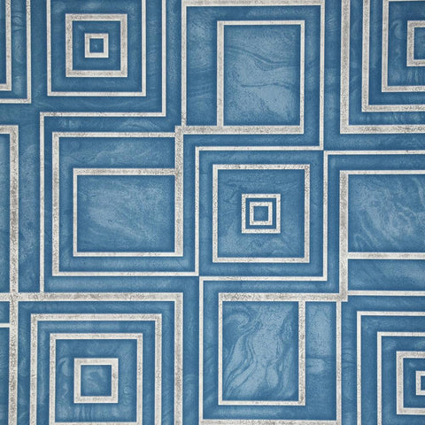 Dimensional Geometric Wallpaper in Blue from the Precious Elements Collection by Burke Decor