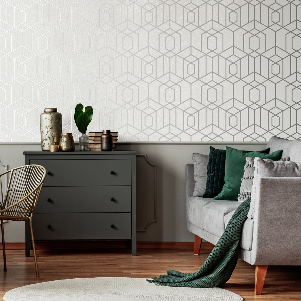 Disco Vogue Wallpaper in Silver from the Capsule Collection by Graham & Brown