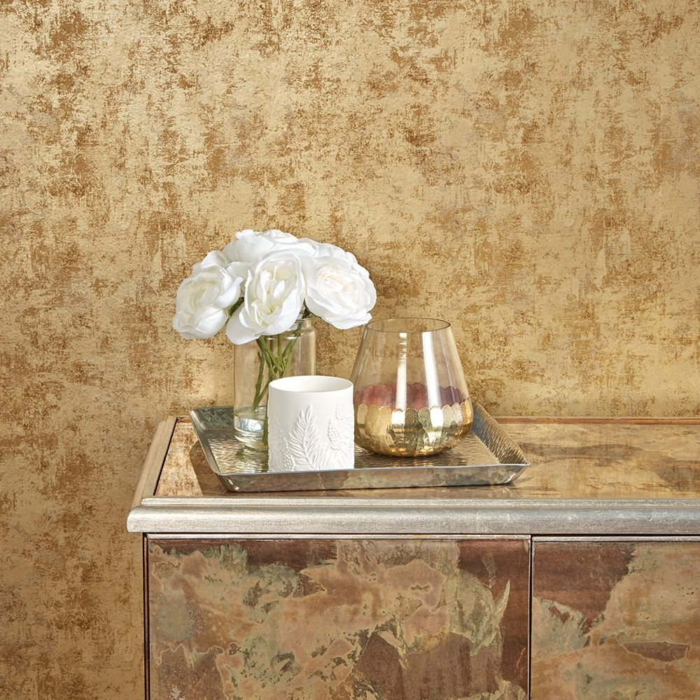 Distressed Gold Leaf Self-Adhesive Wallpaper (Single Roll) by Tempaper
