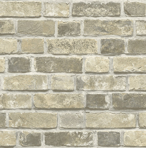 Distressed Brick Peel-and-Stick Wallpaper in Neutral by NextWall