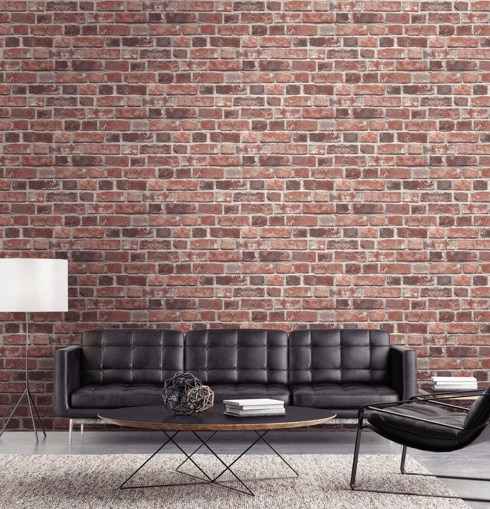 Distressed Brick Peel And Stick Wallpaper In Red By Nextwall Burke Decor