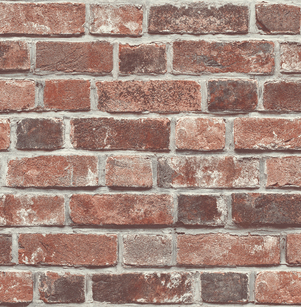 - Distressed Brick Peel-and-Stick Wallpaper In Red By NextWall