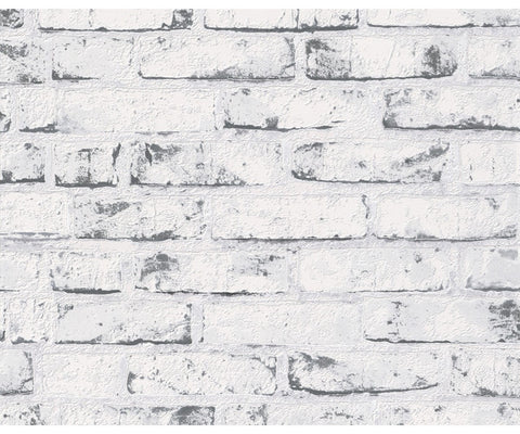 Distressed Brick Wallpaper in Grey design by BD Wall