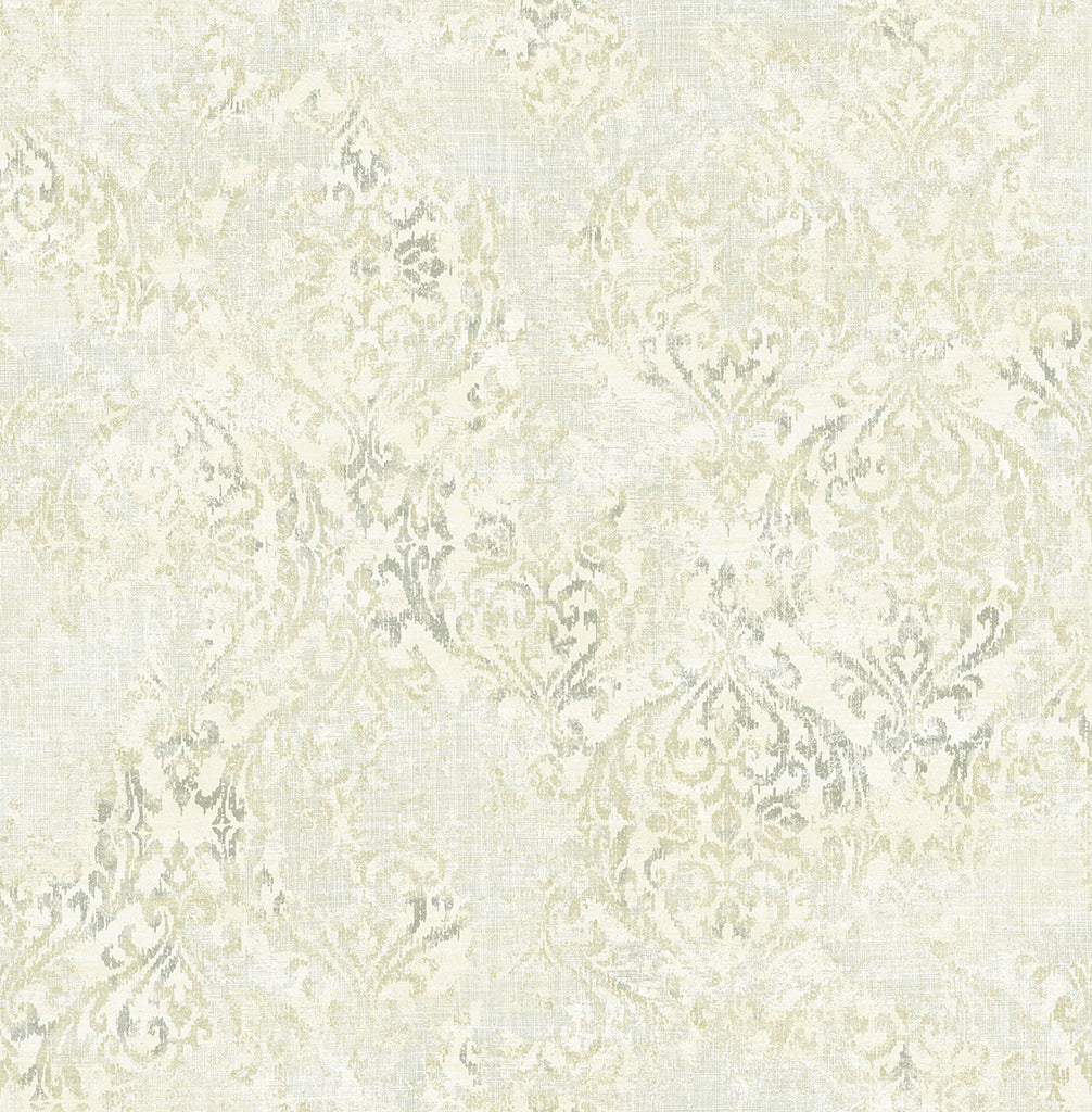 Distressed Damask Wallpaper in Luster from the Nouveau Collection by Wallquest