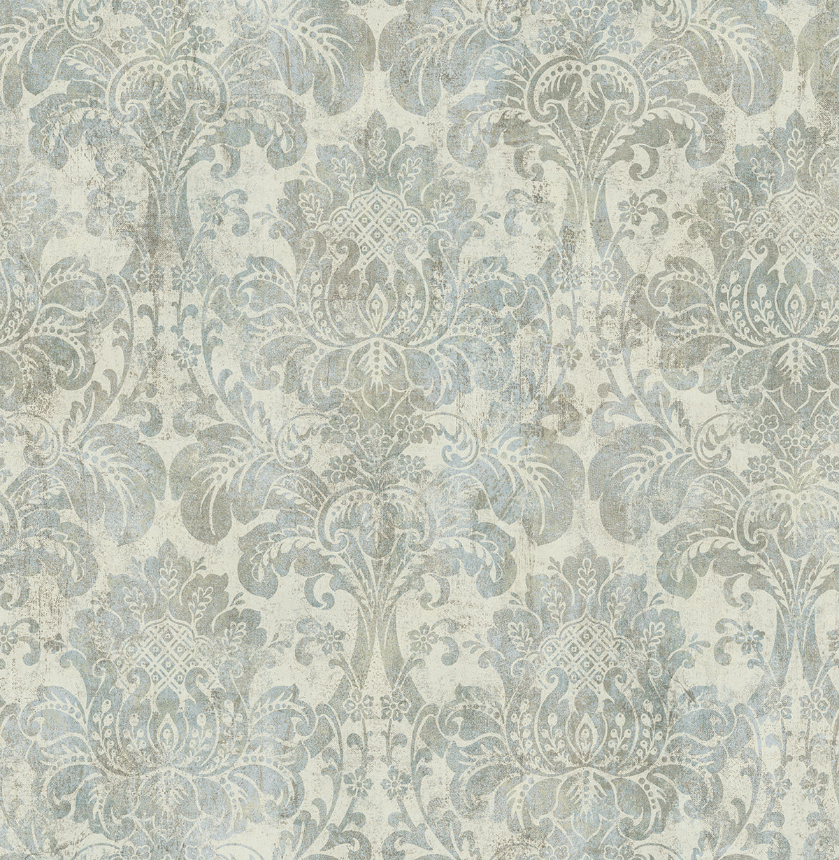 Distressed Damask Wallpaper In Plated From The Vintage Home 2 Collecti Burke Decor