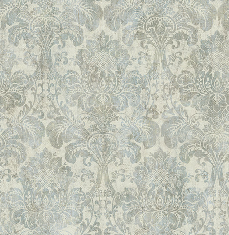 Distressed Damask Wallpaper in Plated from the Vintage Home 2 Collection by Wallquest