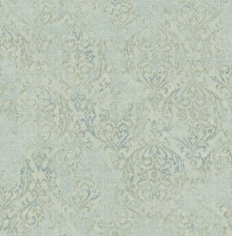 Distressed Damask Wallpaper in Shadow from the Nouveau Collection by Wallquest