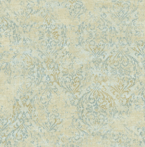Distressed Damask Wallpaper in Sunny Blue from the Nouveau Collection by Wallquest