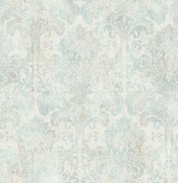distressed damask wallpaper in vintage blue from the vintage home 2