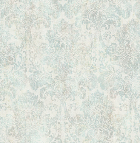 Distressed Damask Wallpaper in Vintage Blue from the Vintage Home 2 Collection by Wallquest