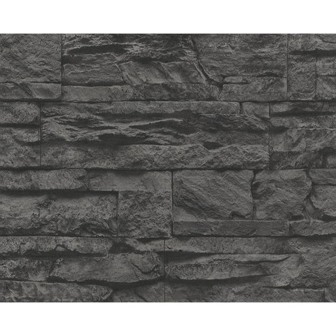 Distressed Stone Wallpaper in Black and Grey design by BD Wall