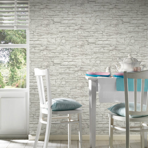 Distressed Stone Wallpaper in Grey and White design by BD Wall