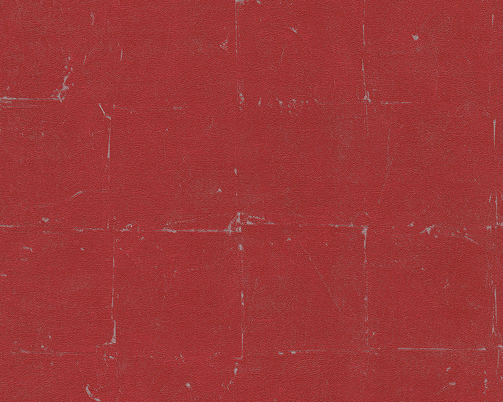 Distressed Tiles Wallpaper in Red design by BD Wall