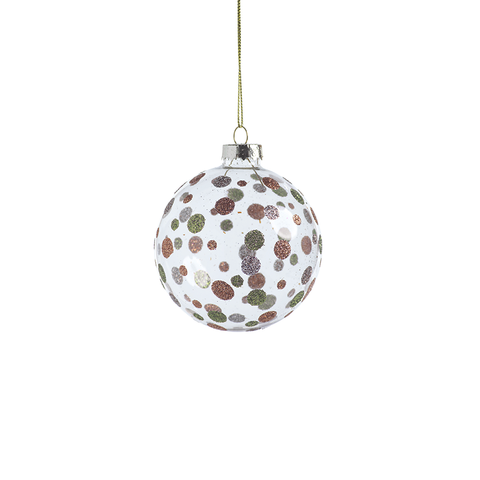 Dixie Glittered Polka Dot Holiday Ball Ornaments