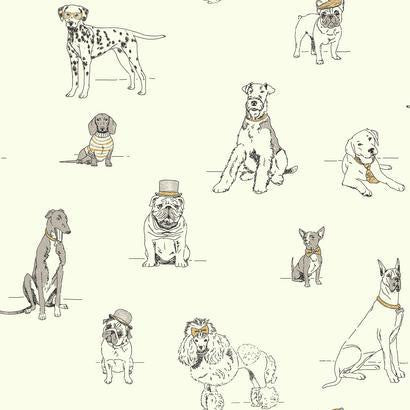 Dog's Life Wallpaper in Grey, Gold, and Ivory by Ashford House for York Wallcoverings