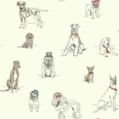 Dog's Life Wallpaper in Grey, Red, and Ivory by Ashford House for York Wallcoverings