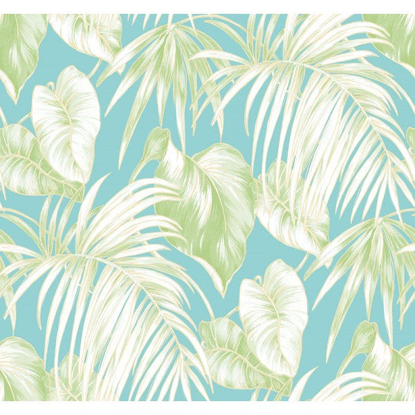 Dominica Wallpaper In Aqua And Green From The Tortuga Collection By Seabrook Wallcoverings