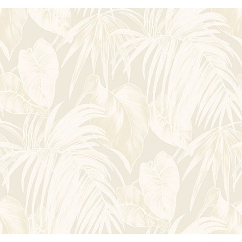 Dominica Wallpaper in Neutrals and Metallic Gold from the Tortuga Collection by Seabrook Wallcoverings