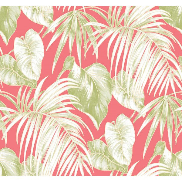Sample Dominica Wallpaper in Pink and Green from the Tortuga Collection by Seabrook Wallcoverings