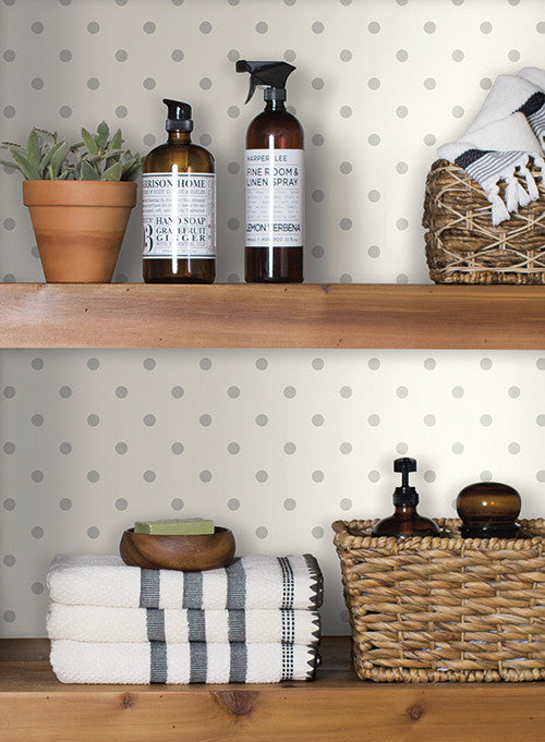 Dots on dots wallpaper in navy and white from the magnolia - Joanna gaines bedding collection ...