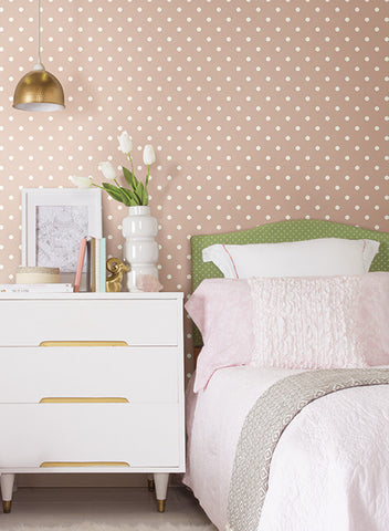 Dots On Dots Wallpaper in Soft Pink and White from the Magnolia Home Collection by Joanna Gaines
