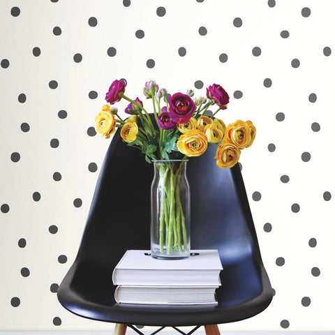 Dots Peel & Stick Wallpaper in Black by RoomMates for York Wallcoverings