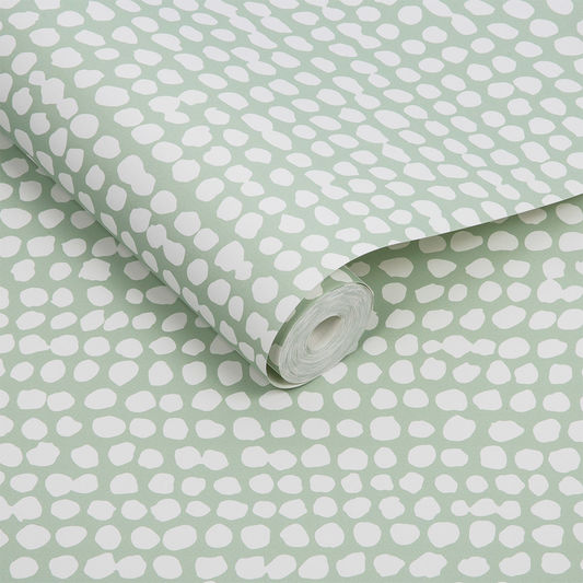Dots Wallpaper in Green from the Exclusives Collection by Graham & Brown