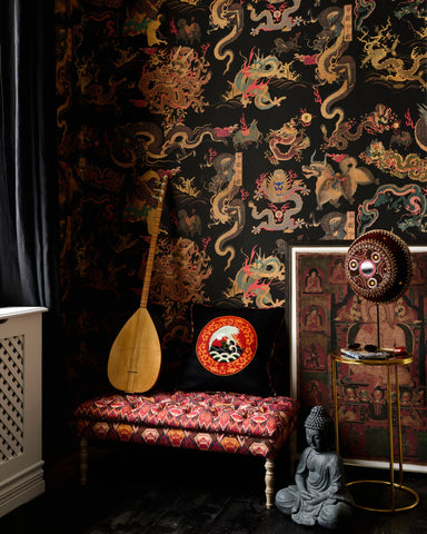 Dragons of Tibet Wallpaper in Red, Gold, and Black from the Wallpaper Compendium Collection by Mind the Gap